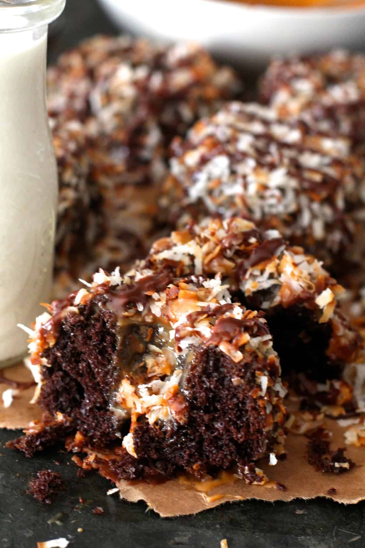 dense chocolate pound cake mixed with sweet caramel, rich chocolate fudge, and toasted coconut
