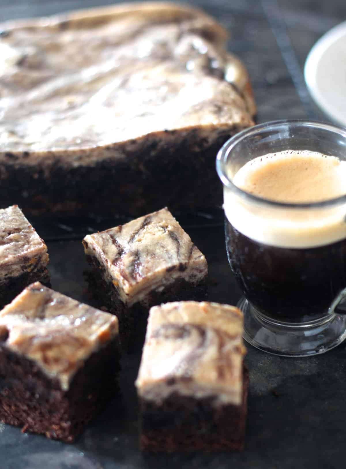 A rich chocolate brownie swirled with espresso cream cheese