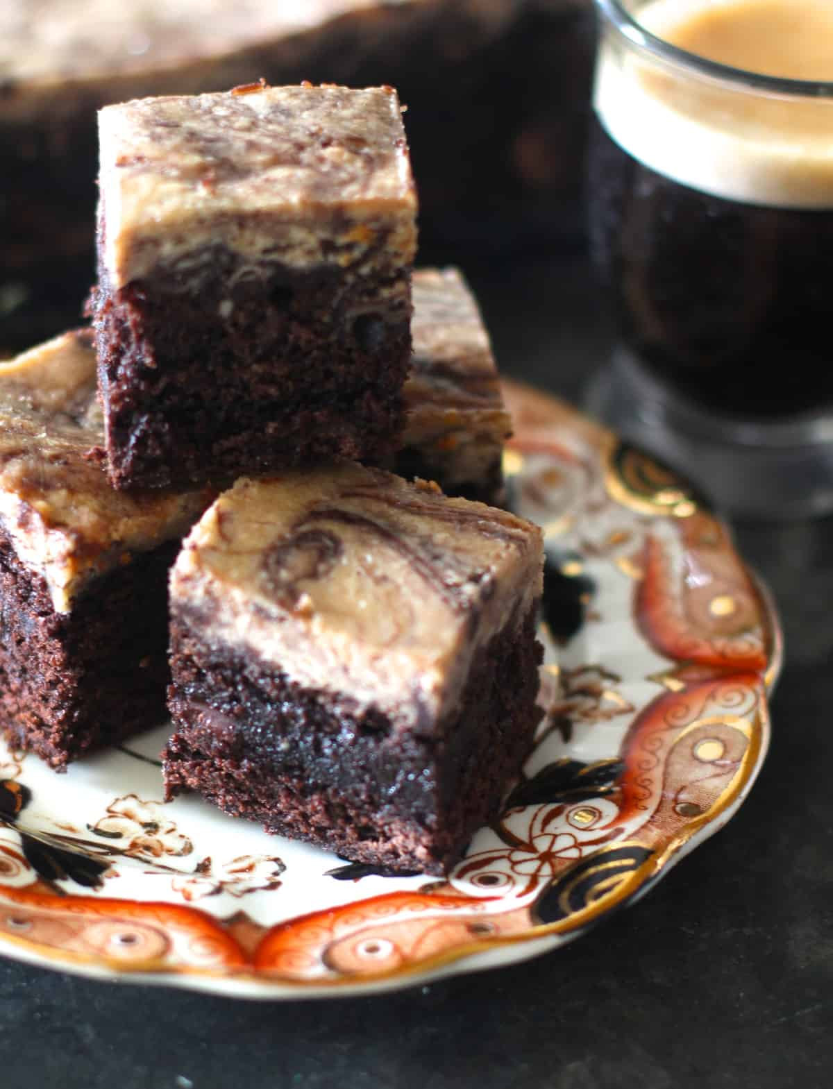 dense chocolate brownies with espresso infused cream cheese swirl