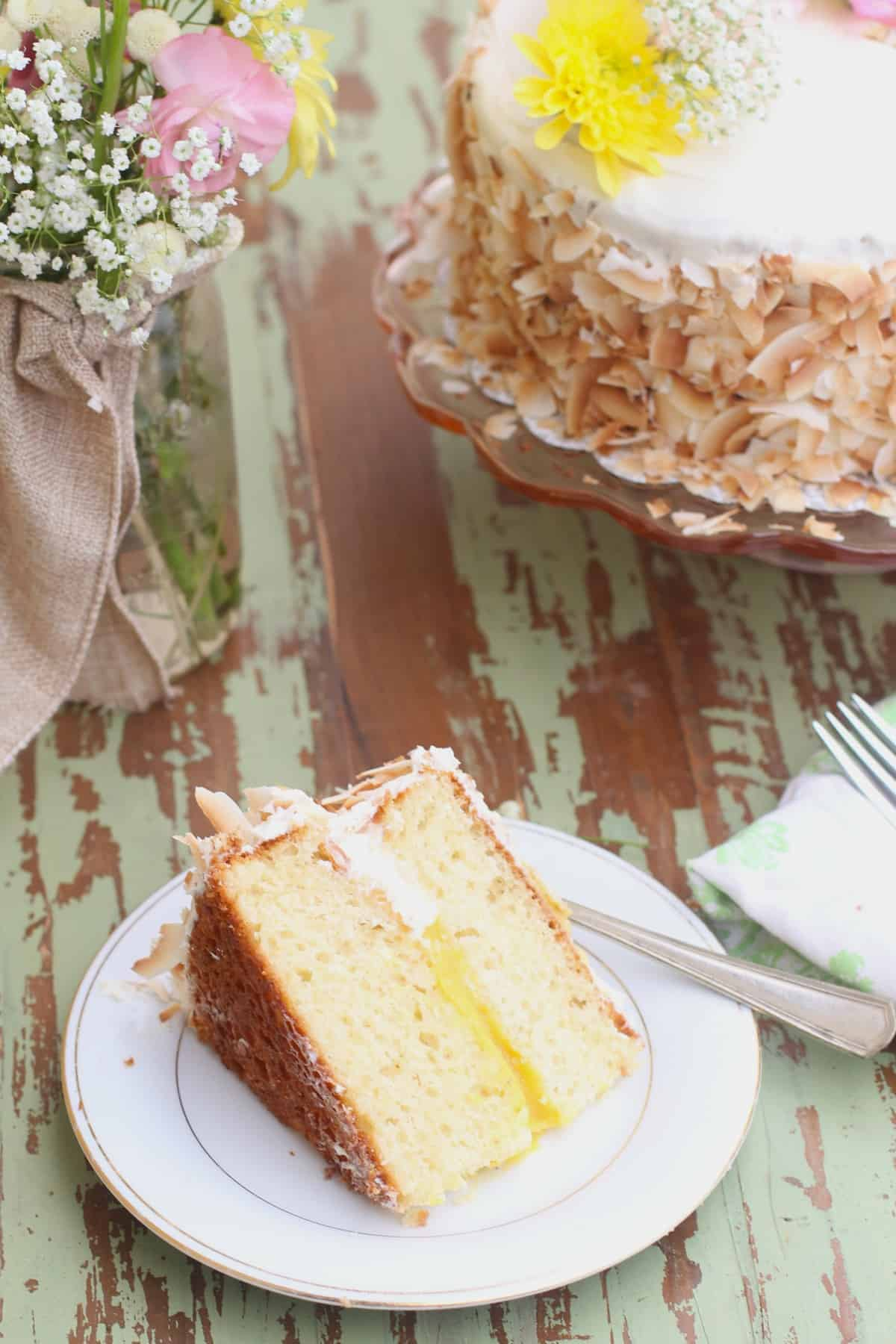 Coconut Cake with Mango Curd Filling