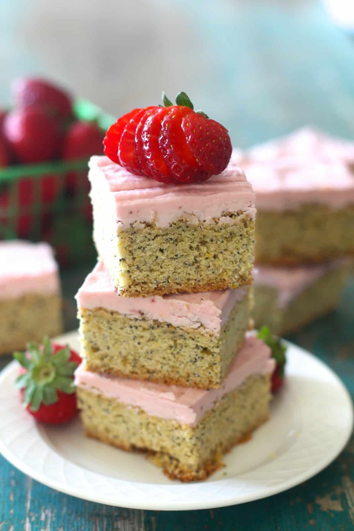 Lemon Poppy Seed Bars with Fresh Strawberry Frosting