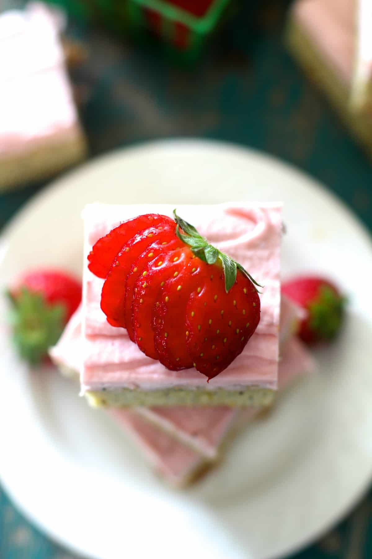 Lemon Poppy Seed Bars with Fresh Strawberry Frosting