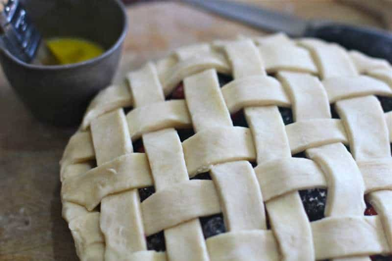 Fresh Lattice Berry Pie with all butter crust