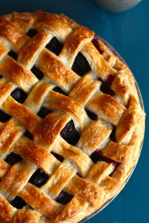 Summer berry pie filled with strawberries, blackberries, raspberries and blueberries