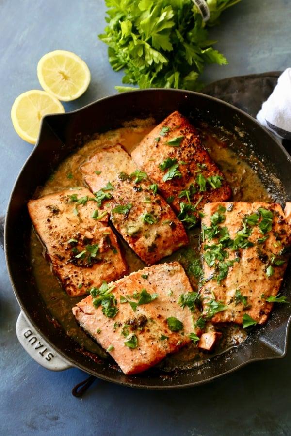 Lemon Garlic Seared Salmon