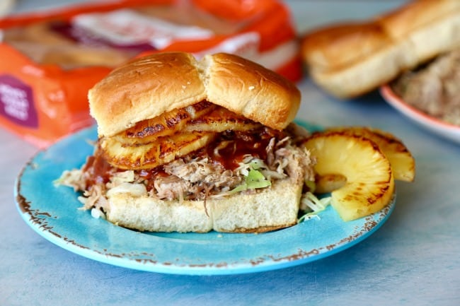 kalua pork sliders on a plate