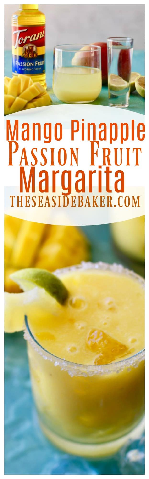 Easy to make margarita made with fresh mango, pineapple juice and passion fruit syrup. The perfect drink on a hot summer day!