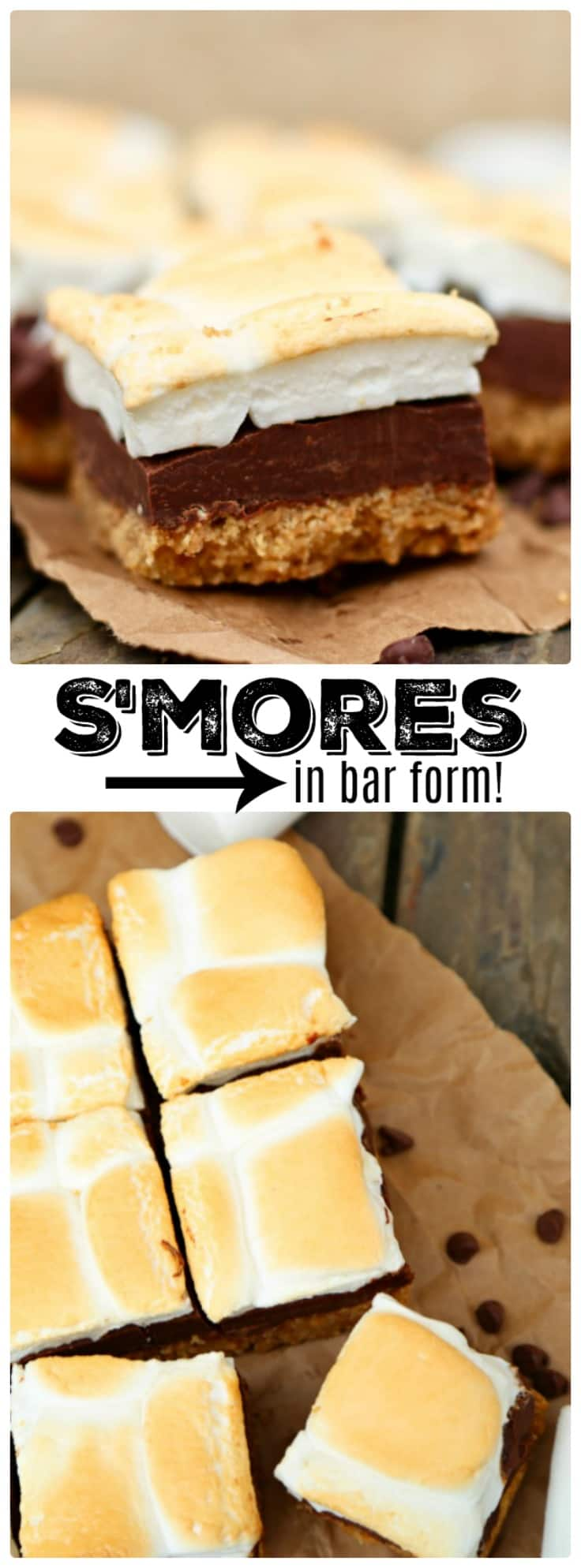 Perfect No-Bake S'mores Bars are made with a buttery graham cracker crust, rich chocolate fudge center and golden brown toasted marshmallow topping