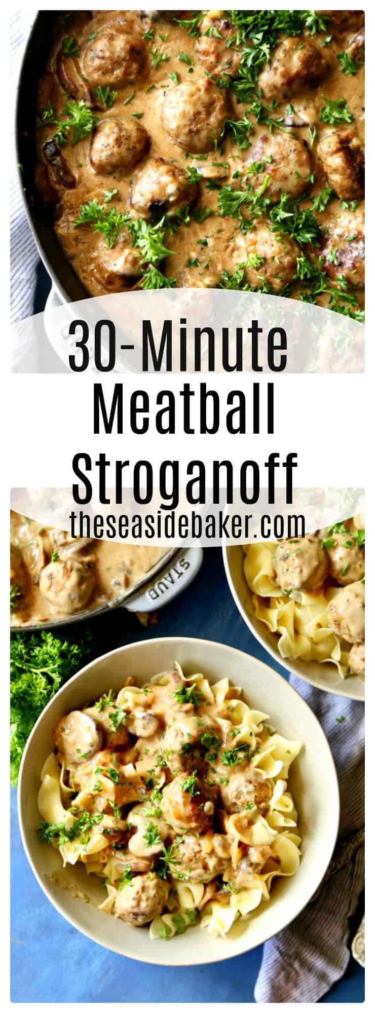 a quick and easy meal perfect for back to school nights. This 30 minute meatball stroganoff is deliciously creamy and rich just like what your mom used to make growing up!