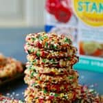 Chewy bakery style sugar cookies coated in colorful sprinkles