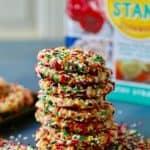 Chewy bakery style sugar cookies coated in colorful sprinkles