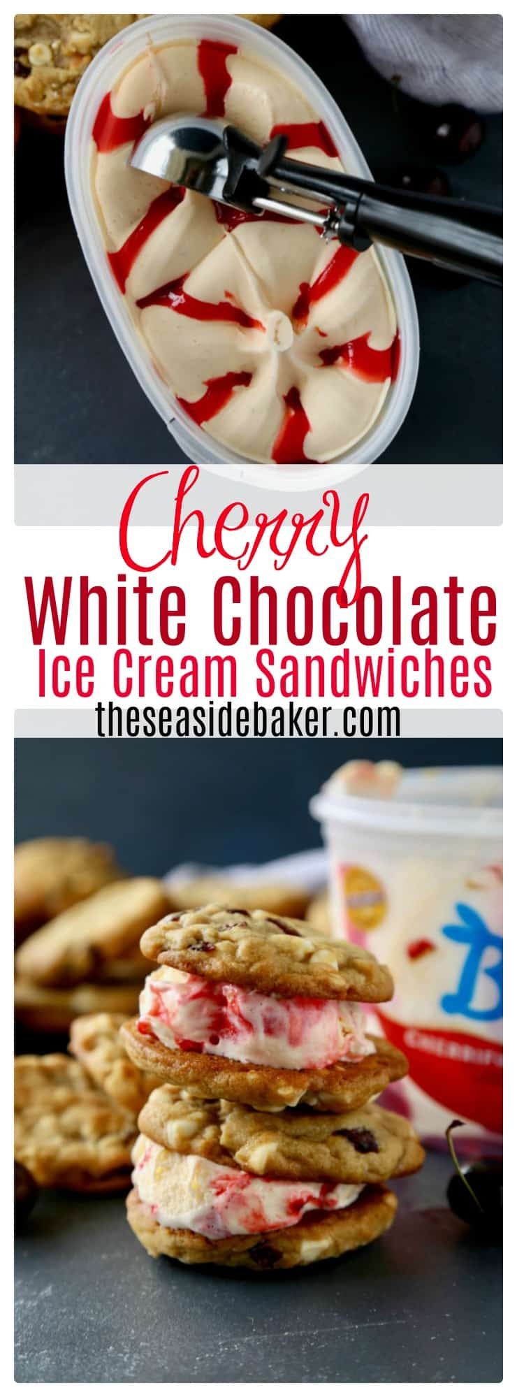 Soft and chewy white chocolate chip cookies studded with dried cherries that sandwich cherry cheesecake ice cream