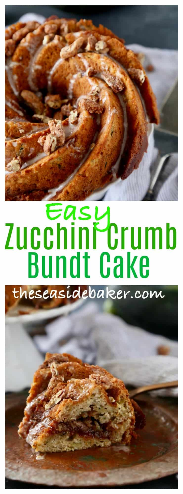 Perfect crumb cake that is full of shredded zucchini and layered with a brown sugar topping. #krusteaz #cakemixrecipes #zucchini #gardenrecipes #cake #breakfast #candiedpecans