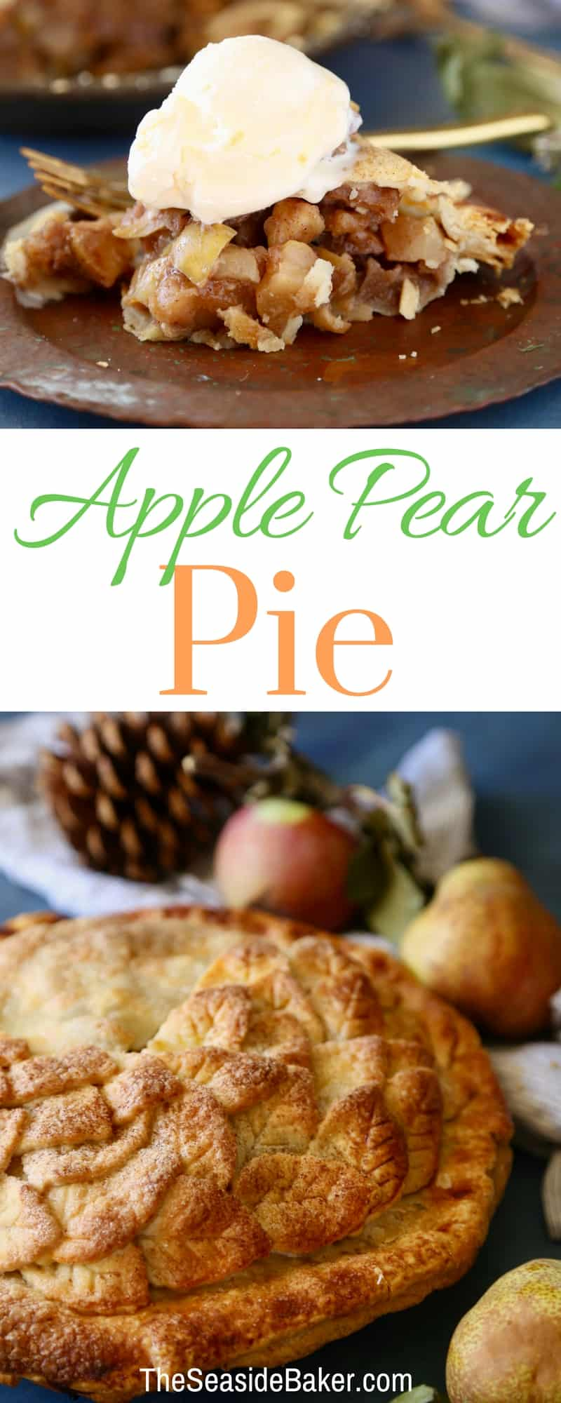 This Apple Pear Pie is everything you want in a Fall Dessert. It has a delicious buttery crust, sweet cinnamon apple pear filling, and beautiful leaf crust cutouts. Perfect for Thanksgiving too!
