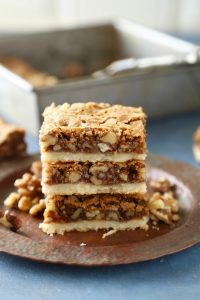 Brown sugar walnut bars have a buttery shortbread base and a sweet brown sugar walnut topping.