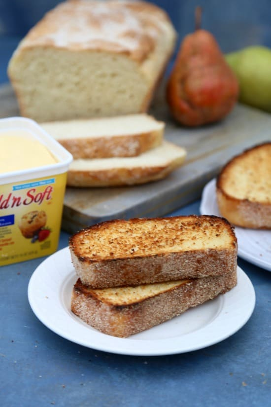 Easy English Muffin Bread toasted on white plate