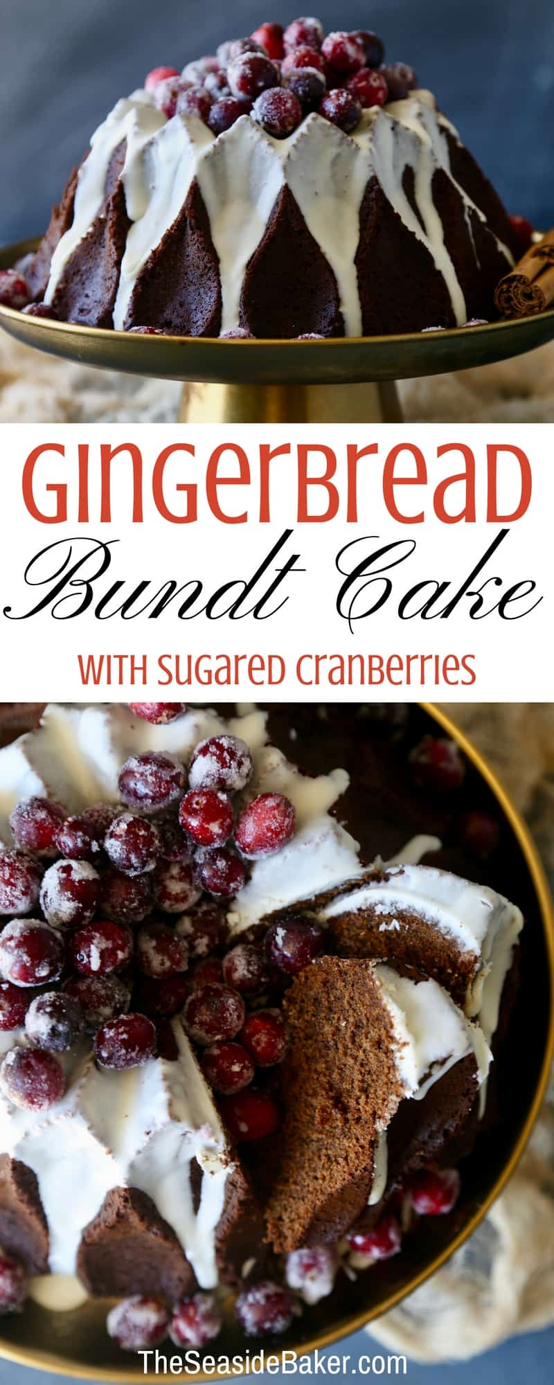 Gingerbread Bundt Cake with Sugared Cranberries