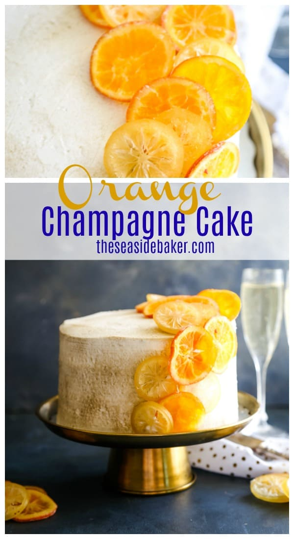 Orange Champagne Cake is an elegant dessert with baked-in orange peel specks, a lemon curd filling, and champagne buttercream frosting. Perfect for any occasion that calls for an elegant and unforgettable dessert - such as New Year's parties, bridal showers, engagement and anniversary parties  Try this elegant and delicious Orange Champagne Cake the next time you need to