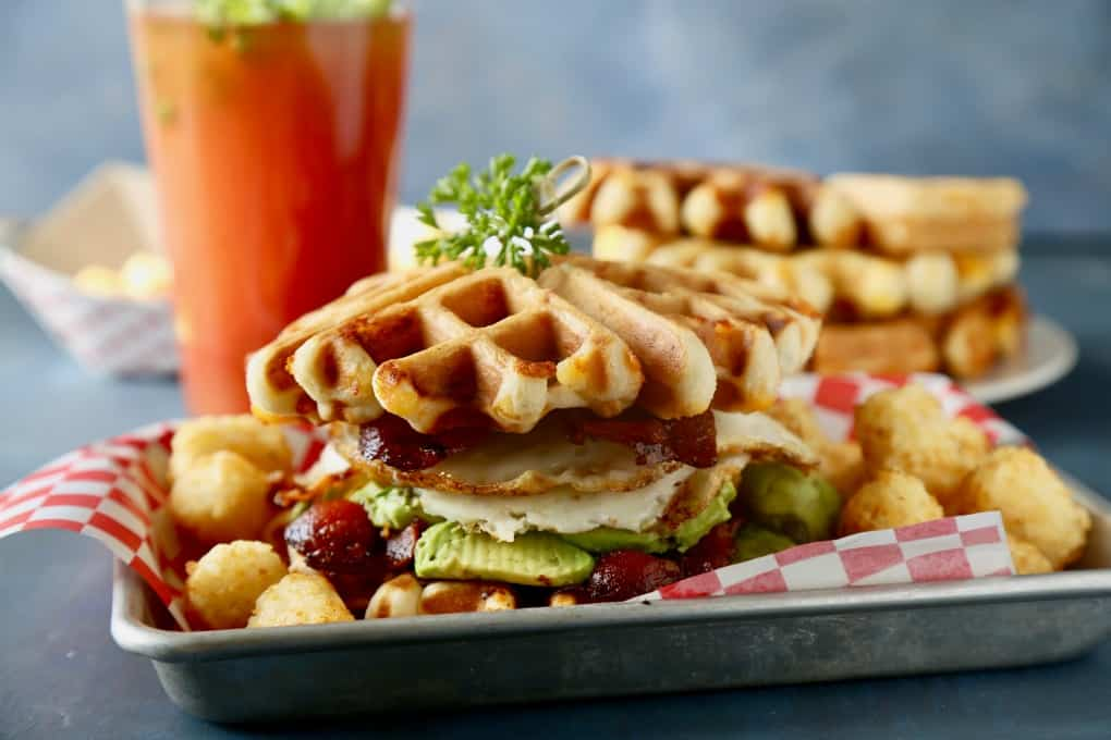 Cheddar Chive Waffle Sandwiches-2