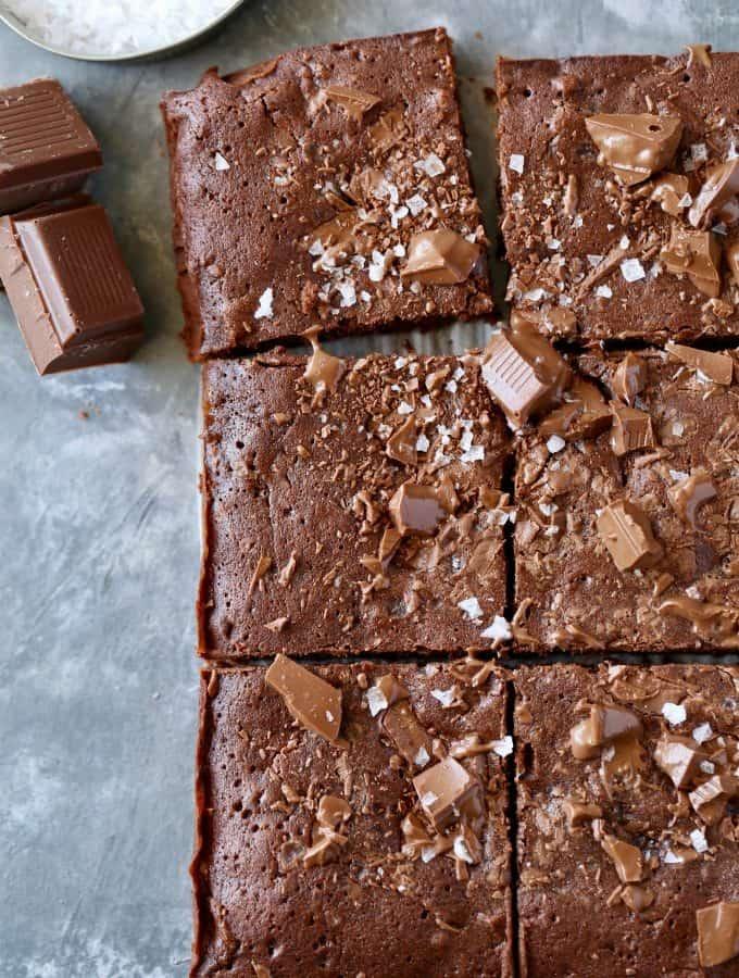 Salted Dark Chocolate Chunk Brownies