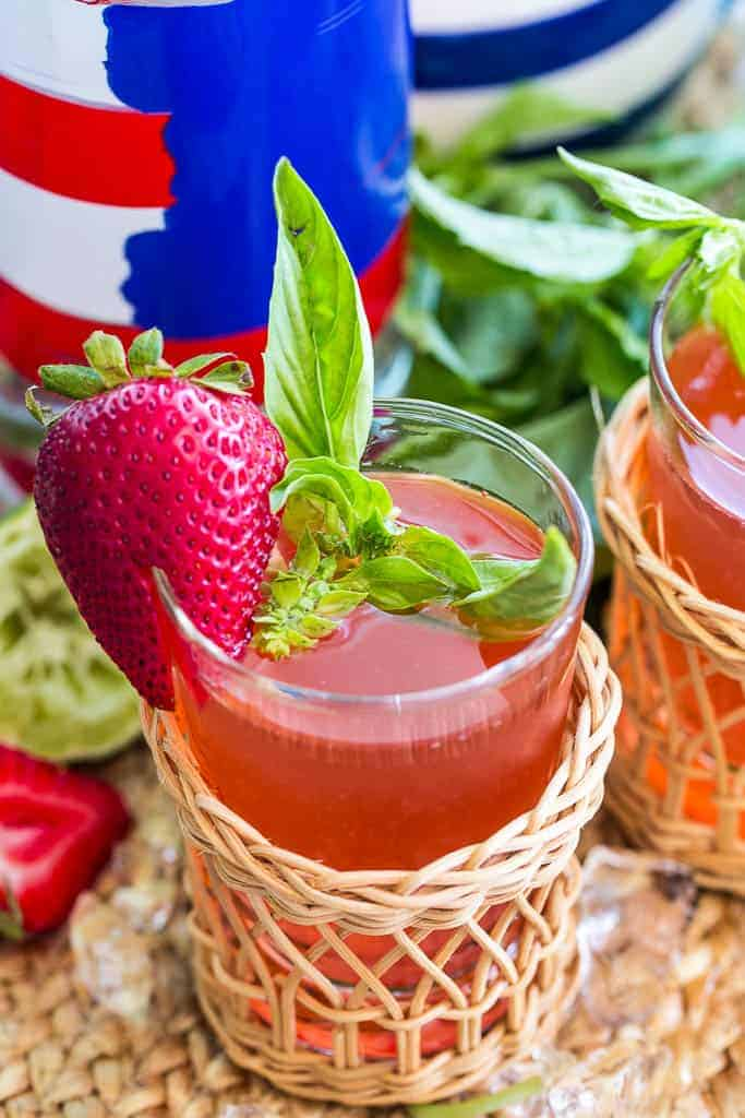 Strawberry Basil Vodka Cocktail