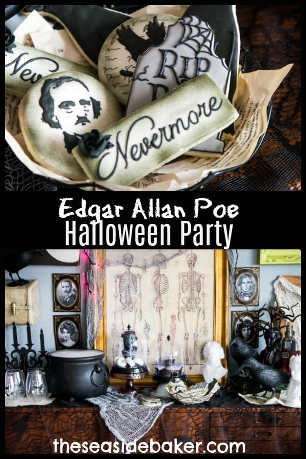 Halloween Root Beer Floats - The Seaside Baker | Plus clever ideas for a Spooktacular Edgar Allan Poe Halloween Party | #rootbeerfloat #halloween #halloween party #theseaside baker #sponsored |Check out TheSeasideBaker.com for more fun ideas and delicious recipes