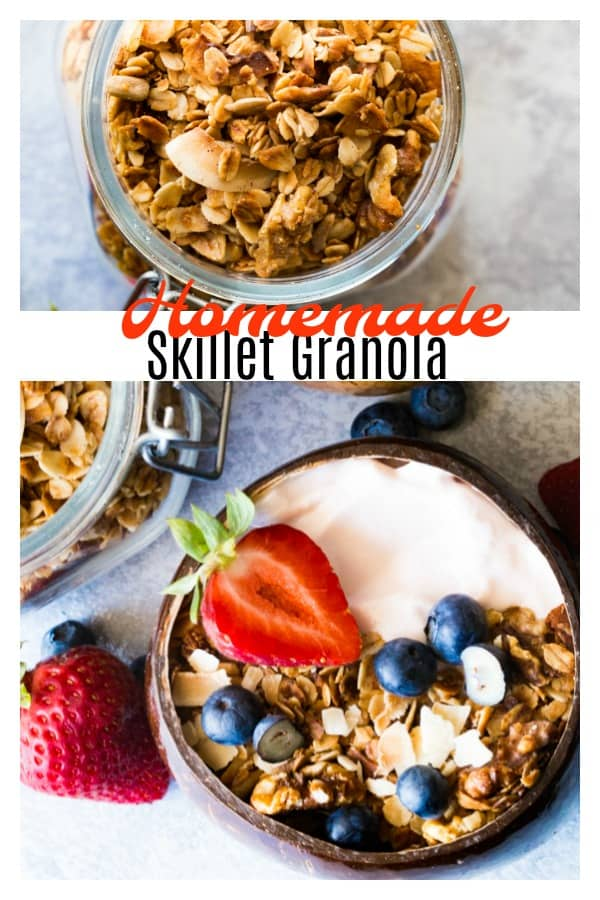 A delicious recipe of Homemade Skillet Granola from The Camp & Cabin Cookbook. This recipe is perfect for breakfast, snaking, and even dessert! #camping #campfood #breakfast #batchcooking