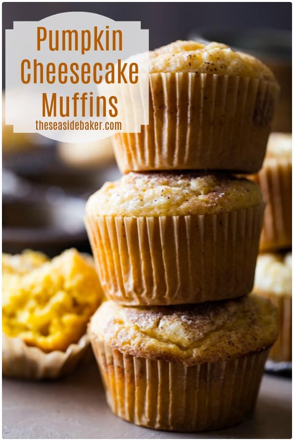 Pumpkin Cheesecake Muffins - the perfect fall treat! | Easy to make and SO delicious! |  #pumpkinspice #muffins | See this and other scrumptious recipes at TheSeasideBaker.com