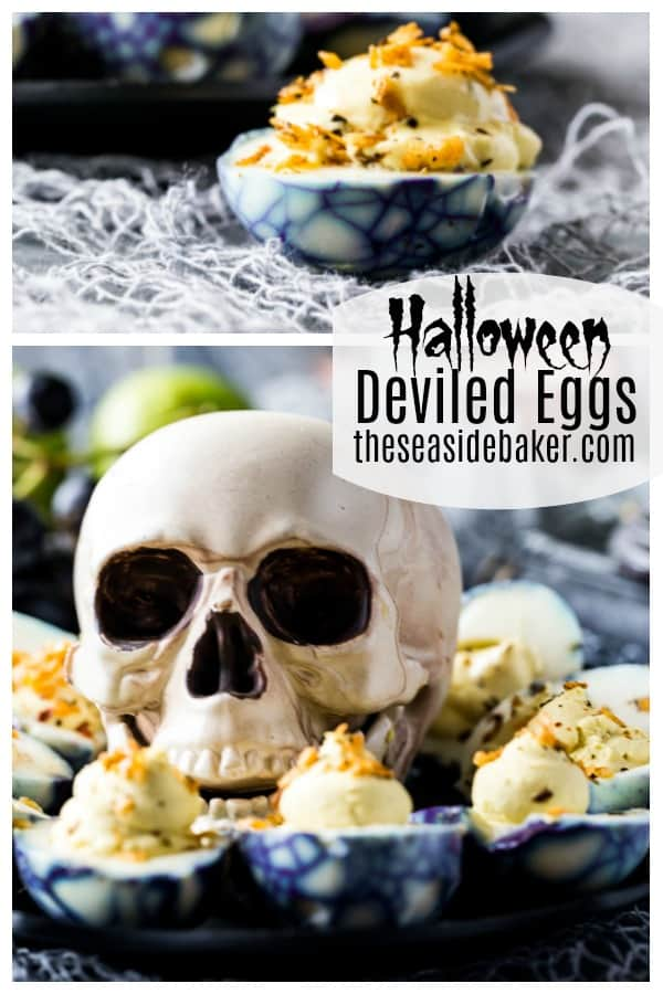 Frightfully fun Halloween treats! | These spooky spider Halloween Deviled Eggs are the perfect appetizer to serve at your Halloween party or on Halloween night!  Your little ghouls and goblins will be sure to love this great protein-packed snack before heading out to trick-or-treat |  See this and other spooktacular Halloween recipes at TheSeasideBaker.com | #halloween #deviledeggs