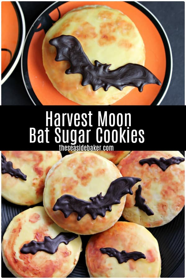 Harvest Moon Bat Sugar Cookies    These delicious Halloween masterpieces are as fun to make as they are to eat! The kids will love helping you make them.  And thanks to the addition of sour cream, these sugar cookies are moist and flavorful - so they taste AMAZING too!   #sugarcookies #halloween   See this and other delicious recipes at TheSeasideBaker.com