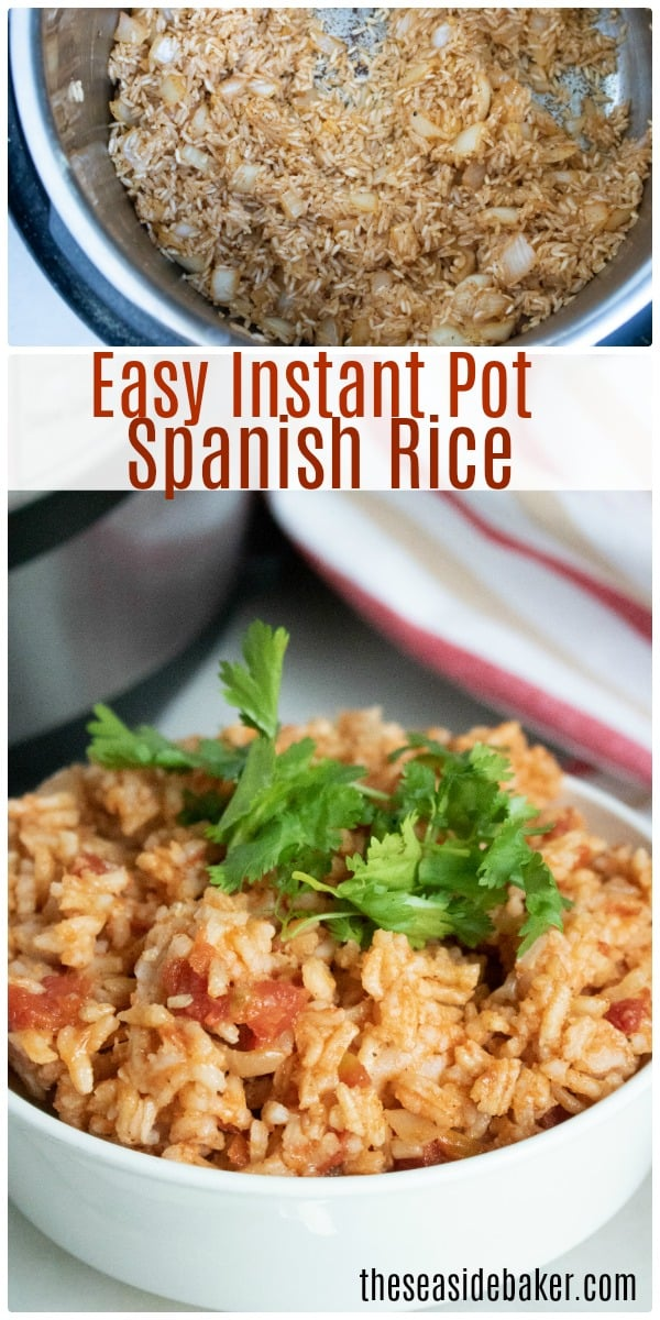 Instant Pot Spanish Rice - made with white rice, onions, peppers, garlic and tomatoes, Quick and easy!  I'll often whip up a double batch on Taco Tuesday and stash the extra in the fridge to use throughout the week. It's perfect for making casseroles, stuffing into wraps, or adding into hearty soups. | #InstantPot #SpanishRice | See this and other delicious recipes at TheSeasideBaker.com