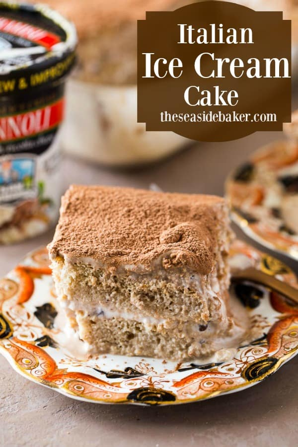 An Italian Ice Cream Cake that combines the flavors of San Bernardo Tiramisu and Cannoli flavored ice cream for a delicious new spin on a classic dessert! | See this and other scrumptious recipes at TheSeasideBaker.com | #icecreamcake #ad