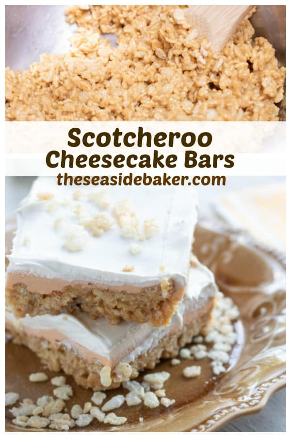 These Scotcheroo Cheesecake Bars are everything you love about rich and creamy cheesecake combined with sweet and crispy Scotcheroos - the perfect mash-up! Plus they're quick and easy to make AND no-bake! | See this and other delicious recipes at TheSeasideBaker.com | #Scotcheroo #cookiebars