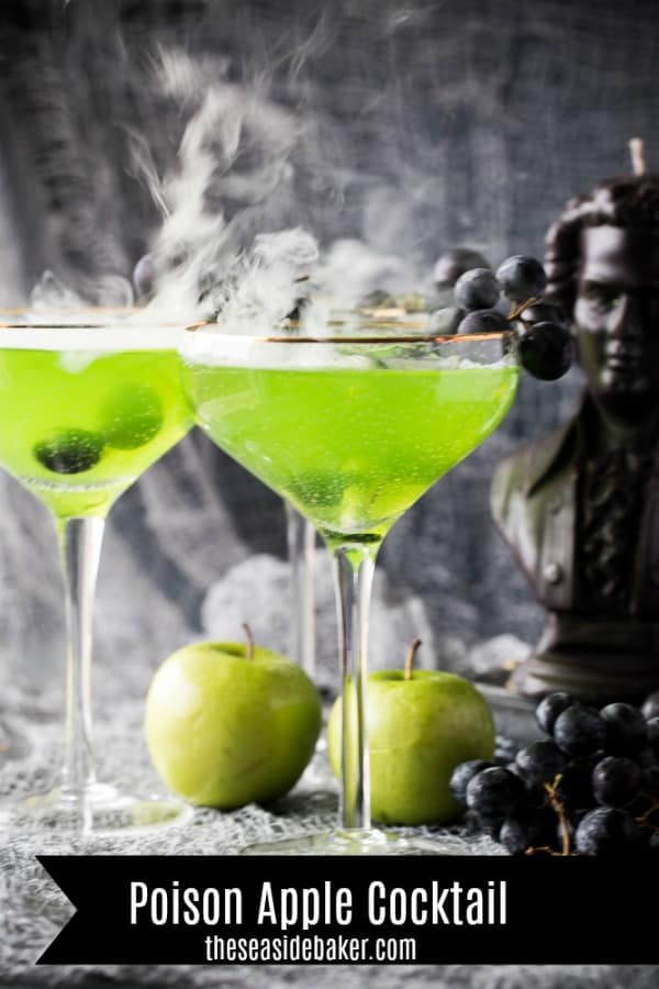 Looking for some adults-only Halloween fun? Then you'll love this Poison Apple Halloween Cocktail with it's vibrant green color - it screams Halloween! Plus it's crisp, tart, and delicious!   Or try the non-alcoholic mocktail version.   See this and other spooktacular Halloween recipes at TheSeasideBaker.com   #Halloween #alcoholicdrink
