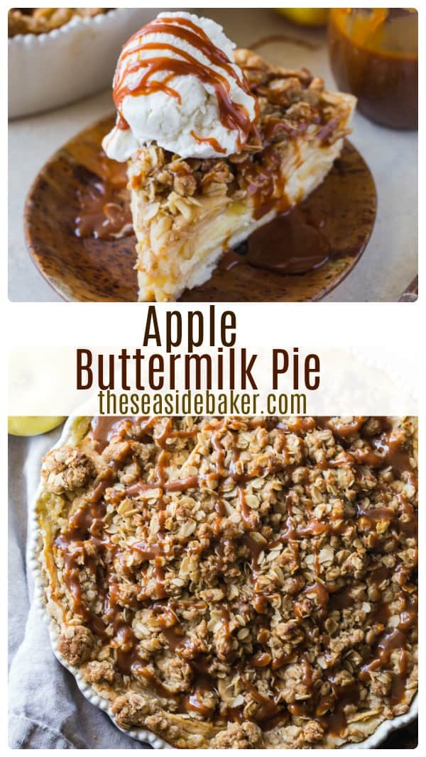 Apple Buttermilk Custard Pie with Streusel Topping - perfect for the holidays! You'll love the addition of the rich and creamy custard filling and the streusel topping gives it a caramelized crunch that is a delicious departure from the traditional fall apple pie recipe. | #TheSeasideBaker #ApplePie #fallrecipes #custardpie #streusel | See this and other delicious recipes at TheSeasideBaker.com