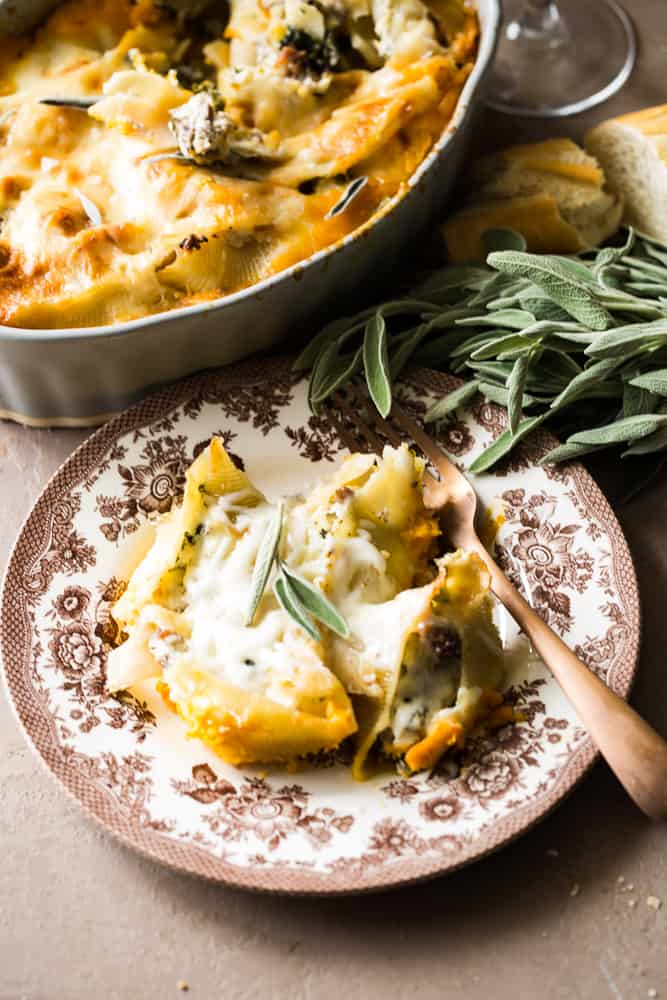 Butternut Squash Stuffed Shells plated