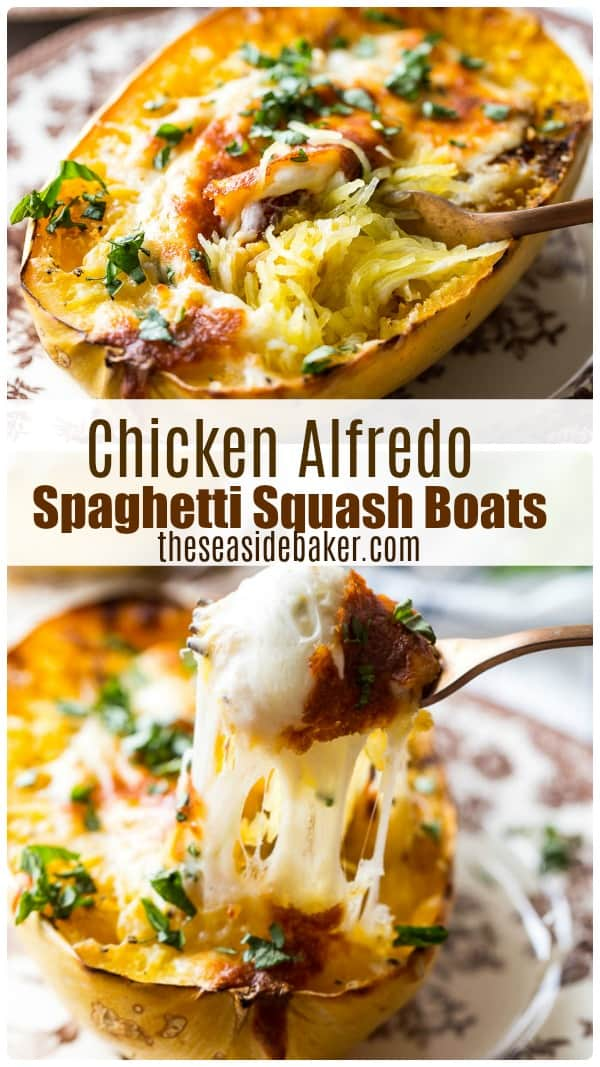 Chicken Alfredo Spaghetti Squash Boats - a fun, flavorful, easy and satisfying spin on traditional spaghetti squash!  And who doesn't love Chicken Alfredo?  Combine the two and you have the perfect light dinner! | #spaghettisquash #chickenalfredo | See this and other delicious recipes at TheSeasideBaker.com
