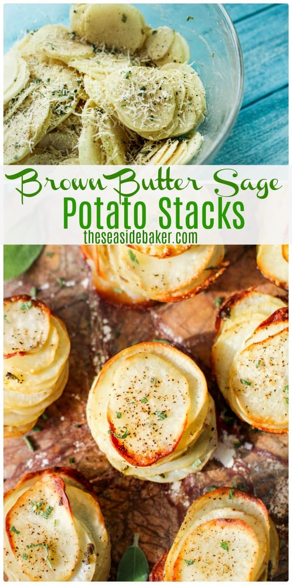 Brown Butter Sage Potato Stacks  | Super fun to make, these are gorgeous little towers of soft and fluffy potato slices with delightful crispy edges that are perfect for weekend brunches or as an elegant appetizer or side dish for almost any main course - or a fun afternoon snack! You can also serve them with burgers instead of the usual french fries. | #theseasidebaker #potatodishes #appetizers #sidedishes | See this and other delicious recipes at TheSeasideaker.com
