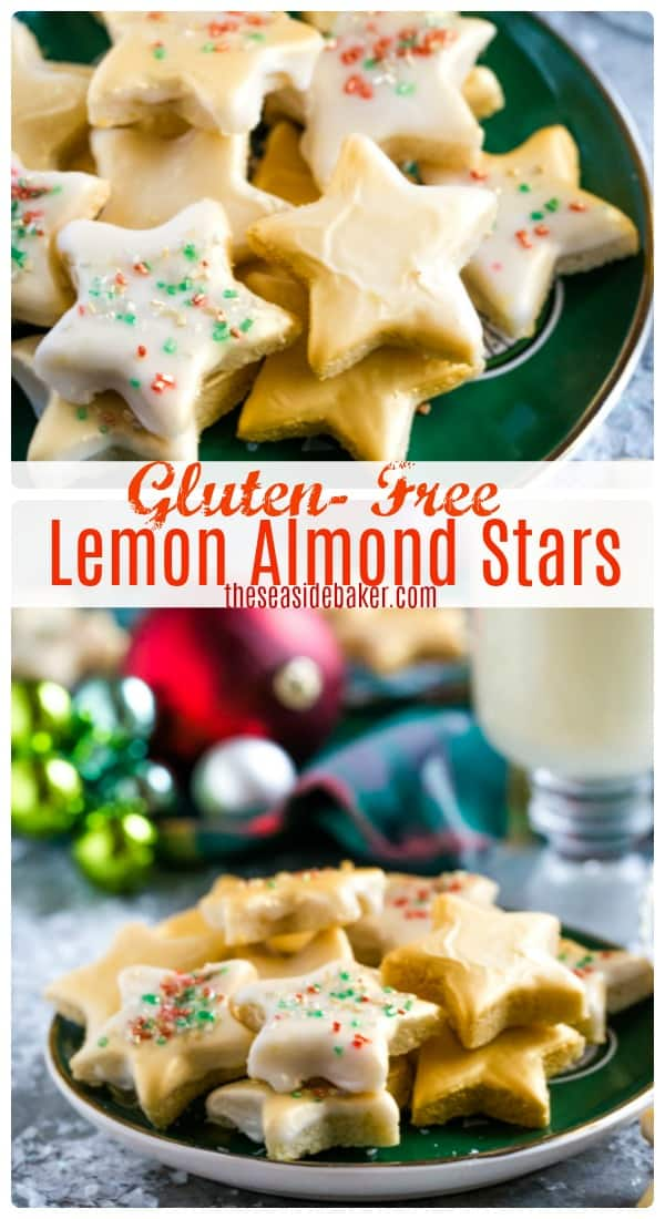 Lemon Star Cookies - a quick and easy recipe that is both Gluten Free and Dairy Free -not to mention delicious!  With only 6 ingredients, you can make 50 (!) cookies in less than 30 minutes. The festive star shape and edible gold finish adds a sophisticated touch that only looks complicated - but isn't! | #TheSeasideBaker #lemonrecipes #Christmascookies | See this and other delicious recipes at TheSeasideBaker.com