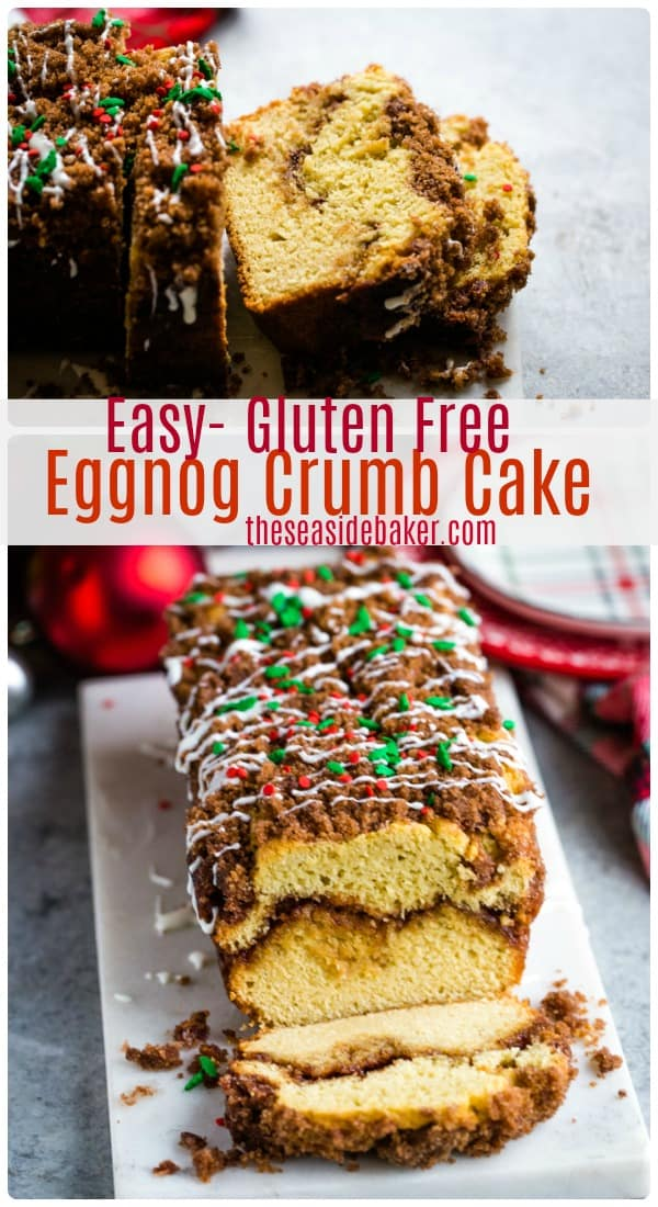 This Eggnog Crumb Cake is moist, delicious and full of festive seasonal flavors. Plus it's gluten-free AND you can make it a day or two ahead-of-time (perfect for Christmas morning)!  Add a taste of the holidays by replacing the water with eggnog. It's the perfect way to start your day during the holiday season! | #theseasidebaker #crumbcake #eggnog #Christmas | See this and other delicious recipes at TheSeasideBaker.com