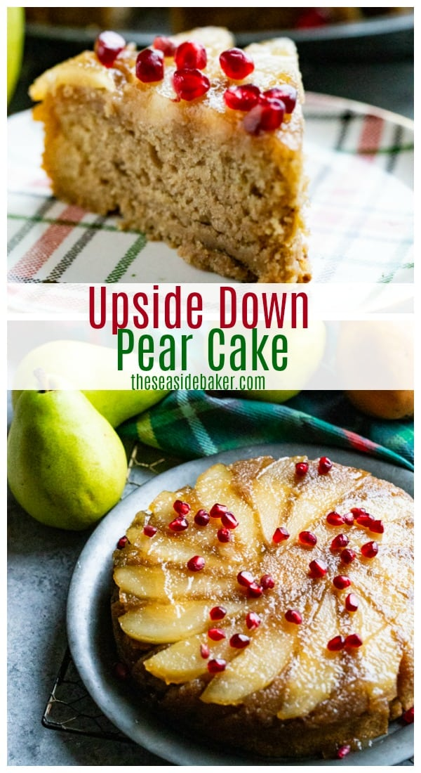 This Pear Upside Down Cake puts a seasonal twist on a traditional favorite. Swapping pineapple for sweet and juicy pears delivers lots of festive - and juicy - flavor. Not to mention a stunning presentation that is perfect for your holiday table.! | #TheSeasideBaker #UpsideDownCake #desserts | See this and other delicious recipes at TheSeasideBaker.com