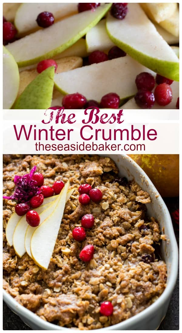 Winter Fruit Crisp! | In this delicious recipe, apples, pears and cranberries combine with seasonal spices to make this delightful winter crisp the perfect treat for this time of year. It has all the wonderful flavors of pie, but is much easier and faster to make. Pair it with a generous dollop of cinnamon-spiked whipped cream to make it extra festive. Perfect for all those holiday potlucks and parties since you can assemble it ahead of time and serve later! | #theseasidebaker #applecrisp
