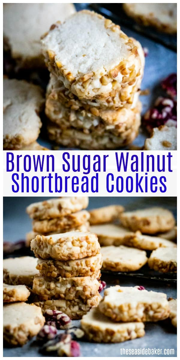 These Brown Sugar Walnut Shortbread Cookies give you delicious homemade flavor, with just 4 simple ingredients and only 10 minutes of prep time! Why settle for those bland tasting store-bought tubes of slice and bake cookies when you can easily make your own?!! | #TheSeasideBaker #ShortbreadCookies #cookierecipes | See this and other delicious recipes at TheSeasideBaker.com