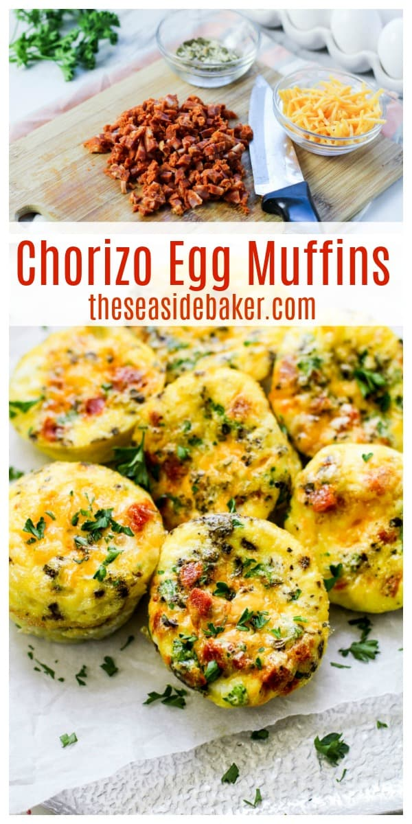 Chorizo Egg Muffins are a hearty and tasty protein-packed way to start your day. They make the perfect grab and go breakfast for busy mornings! And you can make them ahead of time! It's such a healthy way to start the day - but so delicious, you won't even realize you are eating healthy)! Try swapping the chorizo for bacon or adding in some veggies. So many possibilities! | #TheSeasideBaker #breakfastrecipe #brunch #eggrecipe | See this and other delicious recipes at TheSeasideBaker.com