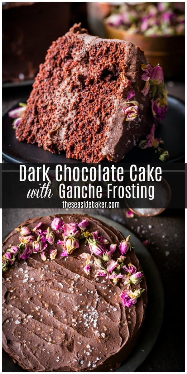 This Dark Chocolate Cake with Chocolate Ganache Frosting is so rich and so decadent, it will satisfy even the most die-hard chocoholics! You'll want to serve this on all your special occasions - Valentine's Day, Christmas,  anniversaries, birthdays and graduations too. So moist, you can almost serve it without any frosting at all. But topping this delectable cake with rich, creamy chocolate ganache frosting makes it that much better. | #TheSeasideBaker, #chocolate #cakerecipe #ValentinesDay