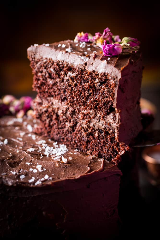 Dark Chocolate Cake with Ganache Frosting