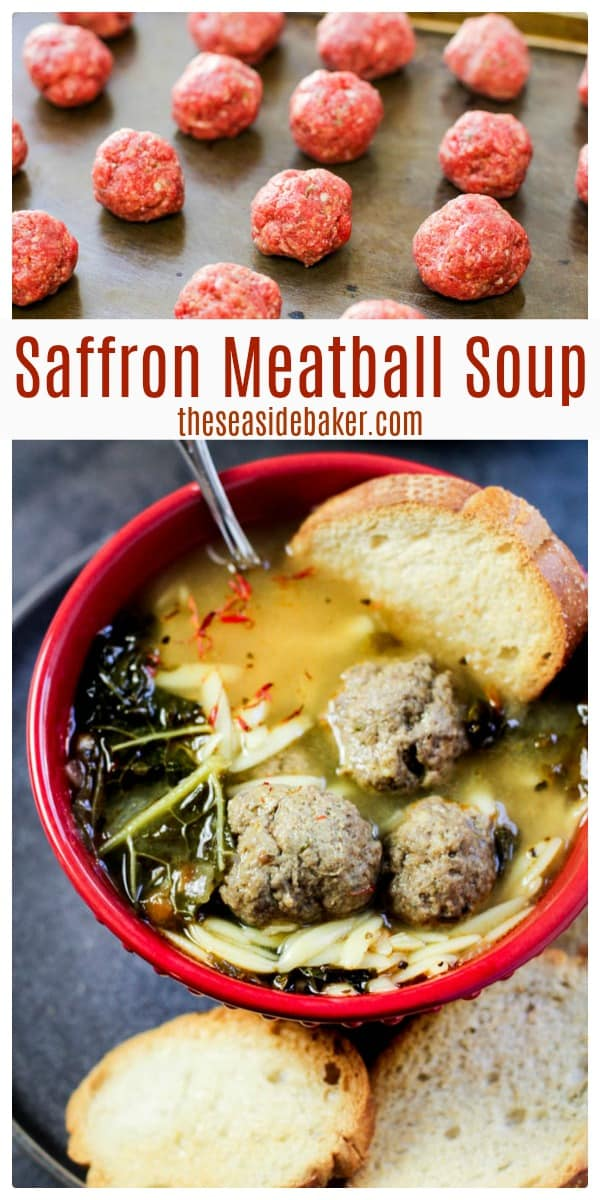 This Spanish Saffron Meatball Soup is chock full of deliciousness. The flavors of smoked paprika and saffron make for a bold and complex broth. And the combination of homemade meatballs and orzo pasta make this soup so filling and satisfying. It may sound complicated - but is really quite simple. Plus it's a hearty, well-rounded and complete meal...all served up in just a single bowl! A great way to make sure the kids are eating their veggies! | #TheSeasideBaker #souprecipe