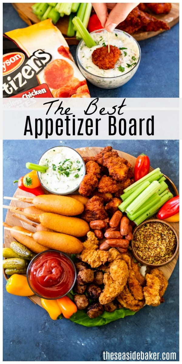 An epic game day appetizer board that includes the very best of the best game watching fare!  You'll love these fantastic, flavorful and fun finger foods! AD After all who doesn't love food on a stick! Plus there's something for everyone: Teriyaki and Pineapple Meatballs, Corn Dogs, Boneless Chicken Bites,  Crispy Chicken Strips, and Smoked Sausages - not to mention veggies and a delectable homemade ranch dip | #TheSeasideBaker #appetizers #superbowlpartyfood #footballfood