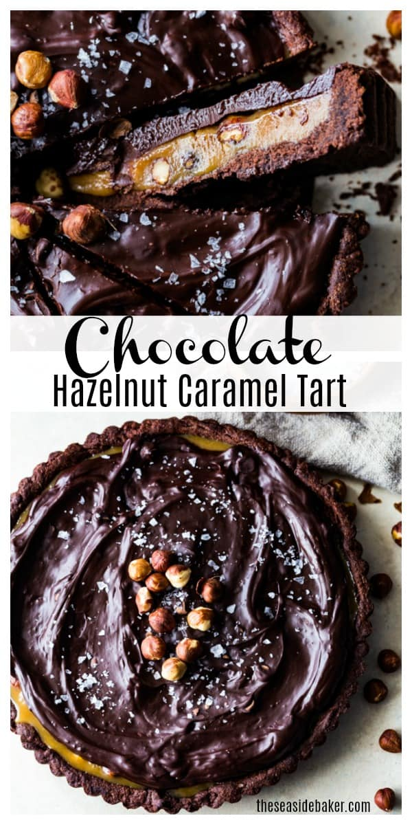 Celebrate this Valentine's Day in style by serving up this utterly sophisticated Chocolate Hazelnut Caramel Tart. With a delectable chocolate shortbread crust, luscious caramel filling, toasted hazelnuts, and decadent chocolate ganache, this Chocolate Hazelnut Caramel Tart truly is the ultimate indulgence. | #chocolate #tart #valentinesday