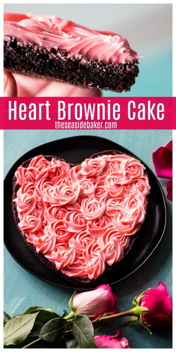 Nothing says Valentine's Day like hearts, chocolate and roses. And this stunning Heart Brownie Cake combines all three.  It's rich, decadent and definitely chocolately.  The beautiful rose-inspired cream cheese frosting only looks complicated; it's actually quite easy to do!    #TheSeasideBaker #ValentinesDayDessert #Chocolaterecipes #brownies